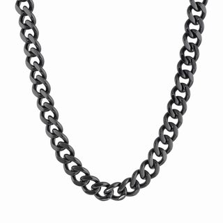 Black Plated Stainless Steel Curb Chain Necklace 12mm