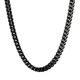 Link to Men's Black-plated Stainless Steel Wheat Chain Necklace (6mm) Similar Items in Men's Jewelry