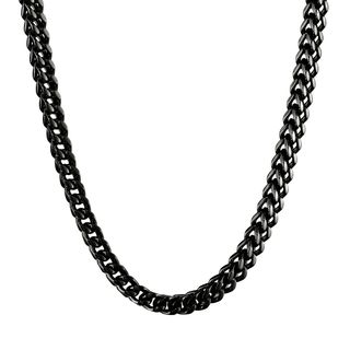 Black-plated Stainless Steel Wheat Chain Necklace (6mm)
