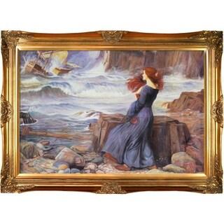 John William Waterhouse 'Miranda - The Tempest' Hand Painted Framed Canvas Art