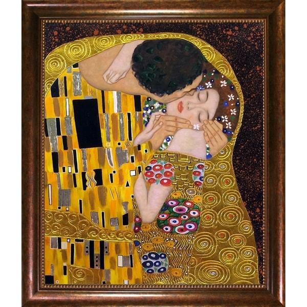 Gustav Klimt 'The Kiss' (Luxury Line) Hand Painted Framed Canvas Art