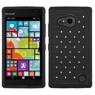 Insten Hard PC/ Soft Silicone Dual Layer Hybrid Rubberized Matte Phone Case Cover with Diamond For Nokia Lumia 730/ 735