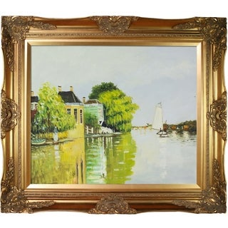 Claude Monet 'Houses on the Achterzaan' Framed Oil Painting on Canvas
