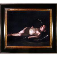 Carvaggio 'Sleeping Cupid' Hand Painted Framed Canvas Art