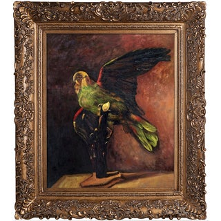Vincent Van Gogh 'The Green Parrot' Hand Painted Framed Canvas Art