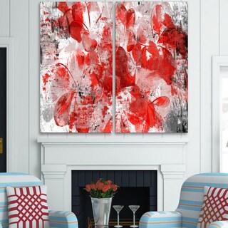 Design Art 'Orange Red Flower Petals' Canvas Art Print - 40Wx40H Inches - 2 Panels