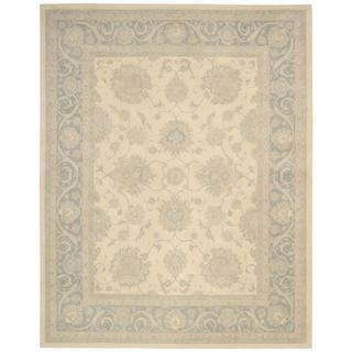 kathy ireland Royal Serenity Hyde Park Ivory/Blue Area Rug by Nourison (5'6 x 7'5)