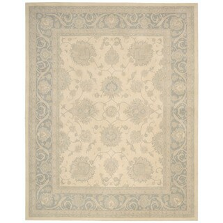 kathy ireland Royal Serenity Hyde Park Ivory/Blue Area Rug by Nourison (7'6 x 9'6)