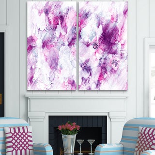 Design Art 'Pink Abstract Flowers' Canvas Art Print - 40Wx40H Inches - 2 Panels