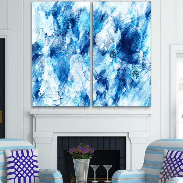Design Art 'Blue Abstract Flowers' Canvas Art Print - 40Wx40H Inches - 2 Panels