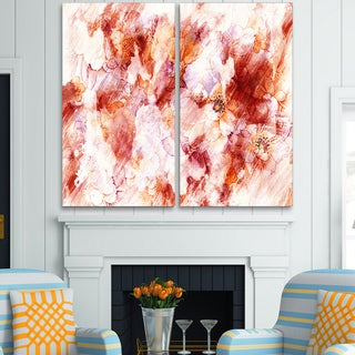 Design Art 'Orange Abstract Flowers' Canvas Art Print - 40Wx40H Inches - 2 Panels