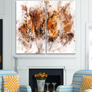 Design Art 'Light Brown Flowers' Canvas Art Print - 40Wx40H Inches - 2 Panels
