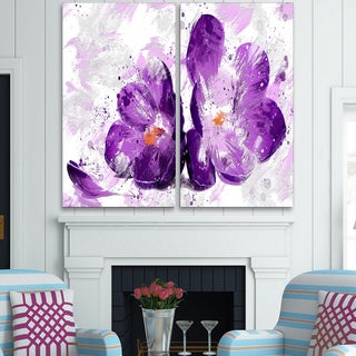 Design Art 'Blooming Purple Flower' Canvas Art Print - 40Wx40H Inches - 2 Panels