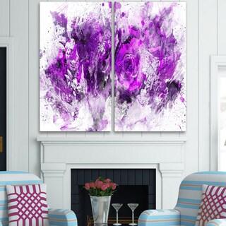 Design Art 'Royal Purple Flowers' Canvas Art Print - 40Wx40H Inches - 2 Panels