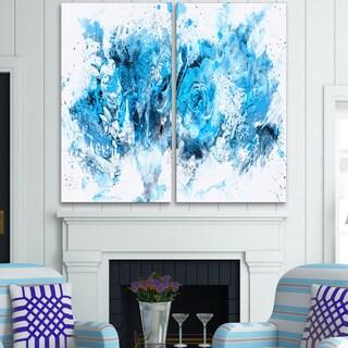 Design Art 'Blue Purple Flowers' Canvas Art Print - 40Wx40H Inches - 2 Panels