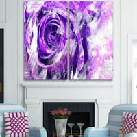 Design Art 'Purple Rose' Canvas Art Print - 40Wx40H Inches - 2 Panels