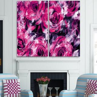 Design Art 'Pink Rose Garden' Canvas Art Print - 40Wx40H Inches - 2 Panels