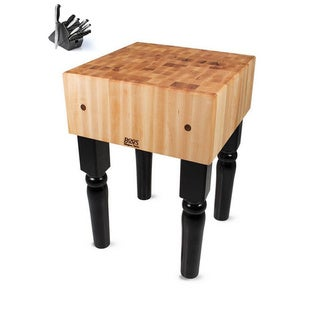 John Boos Black Finish Butcher Block 30 x 20 Table with Casters and Henckels 13-piece Knife Block Set