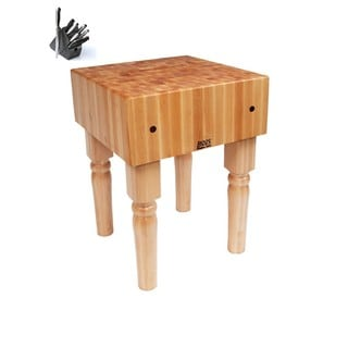 John Boos Natural Finish Butcher Block 30 x 24 Table with Casters and Henckels 13-piece Knife Block Set