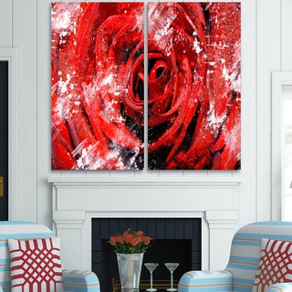 Design Art 'Center of the Rose' Canvas Art Print - 40Wx40H Inches - 2 Panels