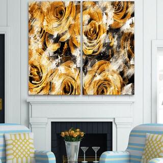 Design Art 'Yellow Rose Garden' Canvas Art Print - 40Wx40H Inches - 2 Panels