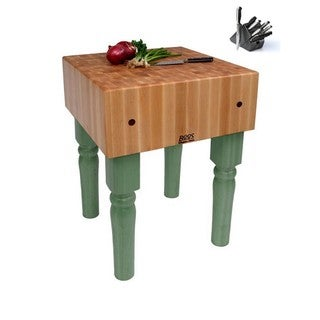 John Boos Basil Butcher Block 24x24x36 Table AB05-C-BS with Casters & Henckels 13-Piece Knife Block Set
