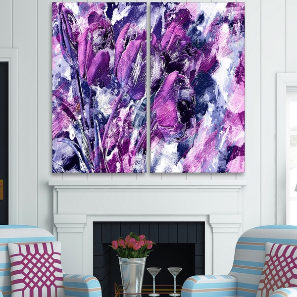 Design Art 'Shades of Purple Flowers' Canvas Art Print - 40Wx40H Inches - 2 Panels