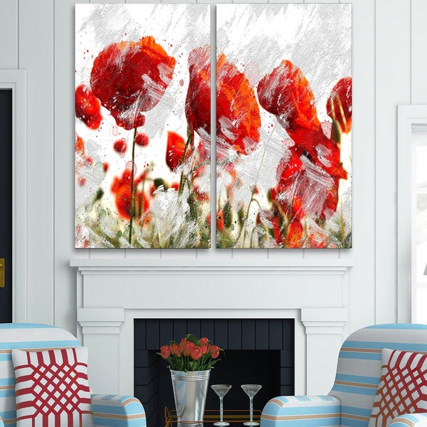 Design Art 'Orange Red Flower Buds' Canvas Art Print - 40Wx40H Inches - 2 Panels