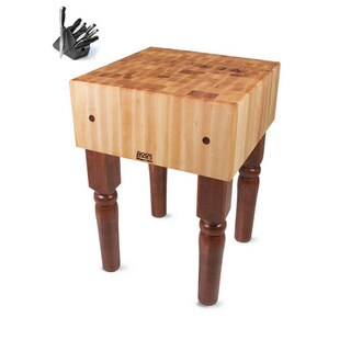 John Boos AB02-CR Cherry Stain Butcher Block 24 x 18 x 36 Table and Henckels 13-piece Knife Block Set