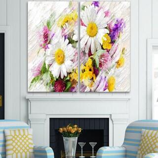 Design Art 'Wild Flowers Bouquet' Canvas Art Print - 40Wx40H Inches - 2 Panels