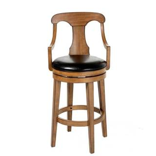 Fashion Bed Group C1W010 Albany Wood Bar Stool with Black Upholstered Swivel-Seat and Acorn Frame Finish, 30-Inch