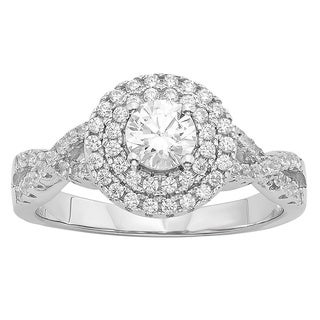 Divina Sterling Silver 1/3ct Austrian Crystal and Cubic Zirconia Engagement Ring