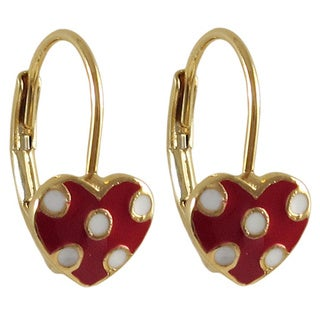 Luxiro Gold Finish Children's Enamel Dot Heart Leverback Earrings