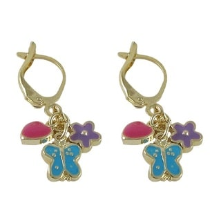 Luxiro Gold Finish Children's Enamel Hearts Butterfly Flower Dangle Earrings