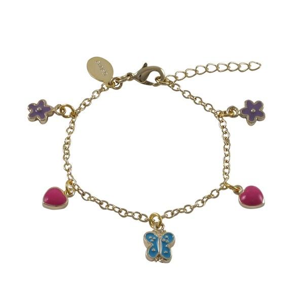 Luxiro Gold Finish Enamel Heart Flower Butterfly Children's Charm Bracelet. Opens flyout.