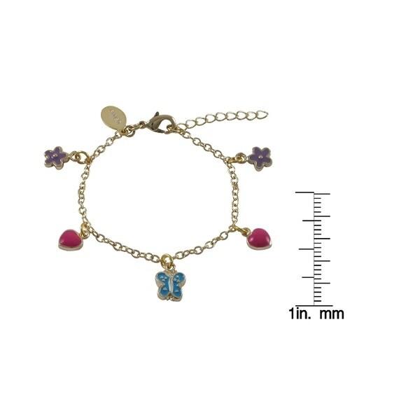 Luxiro Gold Finish Enamel Heart Flower Butterfly Children's Charm Bracelet