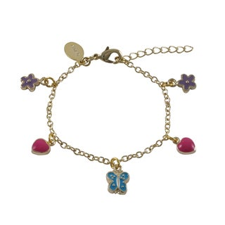 Luxiro Gold Finish Enamel Heart Flower Butterfly Children's Charm Bracelet
