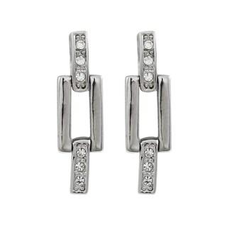 Luxiro Rhodium Finish Crystals Channel Geometric Earrings