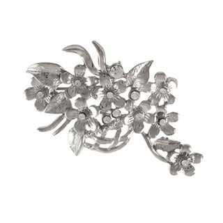 Luxiro Rhodium Finish Crystals Floral Basket Pin Brooch