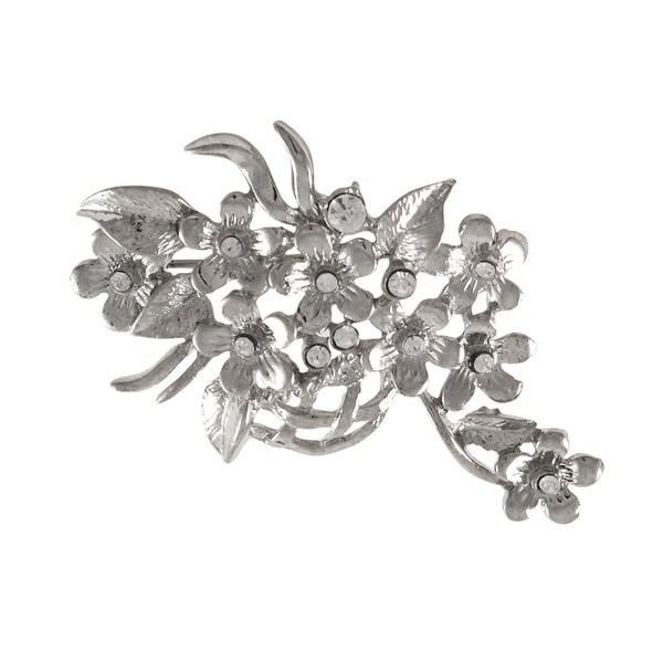 11b84e35f392b Luxiro Rhodium Finish Crystals Floral Basket Pin Brooch - Silver