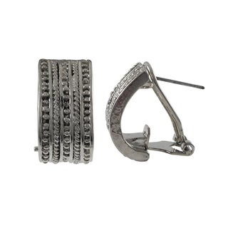 Luxiro Rhodium Finish Textured Channel Huggie Earrings