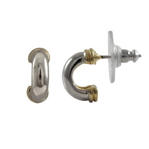 Luxiro Two-tone Gold and Rhodium Finish Saddleback Earrings