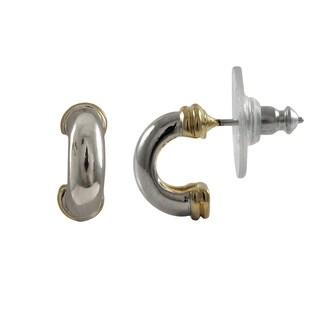 Luxiro Two-tone Gold and Rhodium Finish Saddleback Earrings