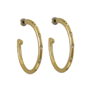 Luxiro Gold Finish Pave Crystals Hoop Earrings