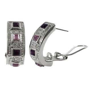 Luxiro Rhodium Finish Square Crystals Channel Huggie Earrings