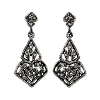 Luxiro Rhodium Finish Pave Crystals Filigree Dangle Earrings