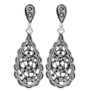 Luxiro Rhodium Finish Pave Crystals Filigree Teardrop Dangle Earrings