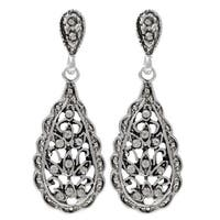 Luxiro Rhodium Finish Pave Crystals Filigree Teardrop Dangle Earrings