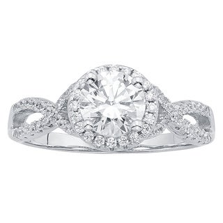 Divina Sterling Silver 1/2ct Austrian Crystal and Cubic Zirconia Engagement Ring
