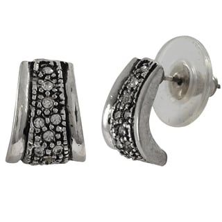 Luxiro Rhodium Finish Pave Crystals Channel Huggie Earrings